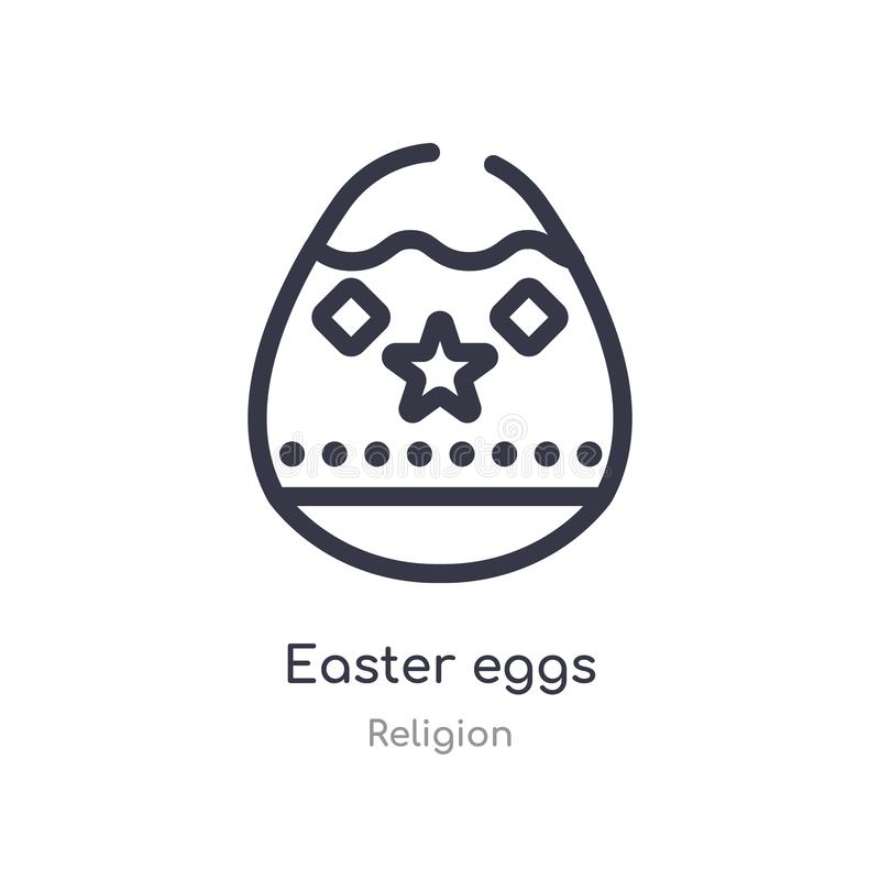 Easter eggs outline icon. isolated line vector illustration from religion collection. editable thin stroke easter eggs icon on. White background stock illustration