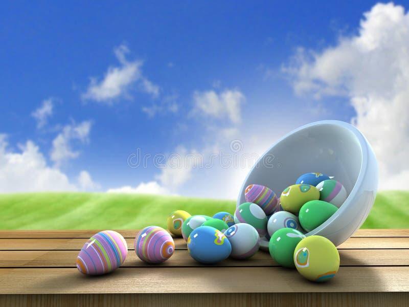 Easter eggs outside stock image