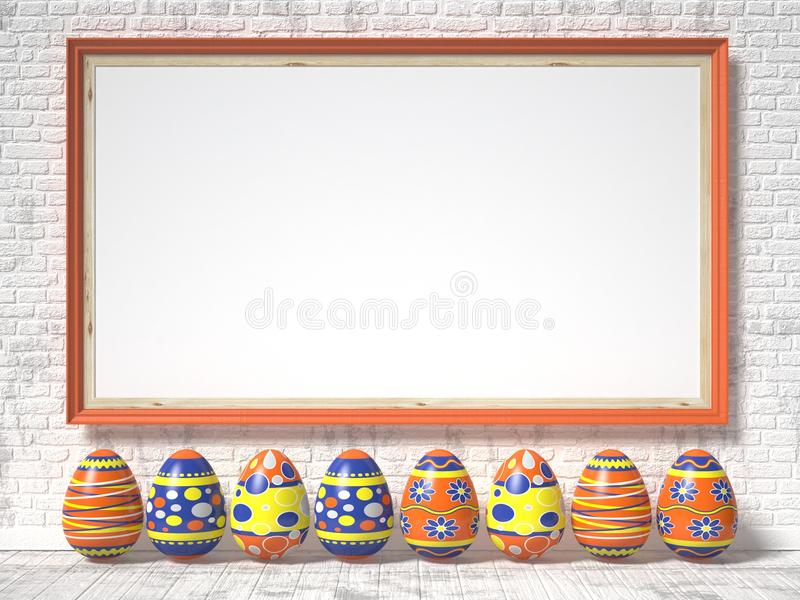Easter eggs painted and blank picture frame. Easter concept. 3D. Render illustration royalty free illustration