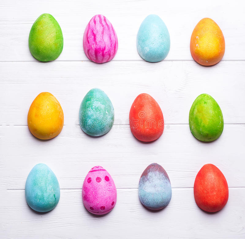 Easter eggs painted in colors stock image