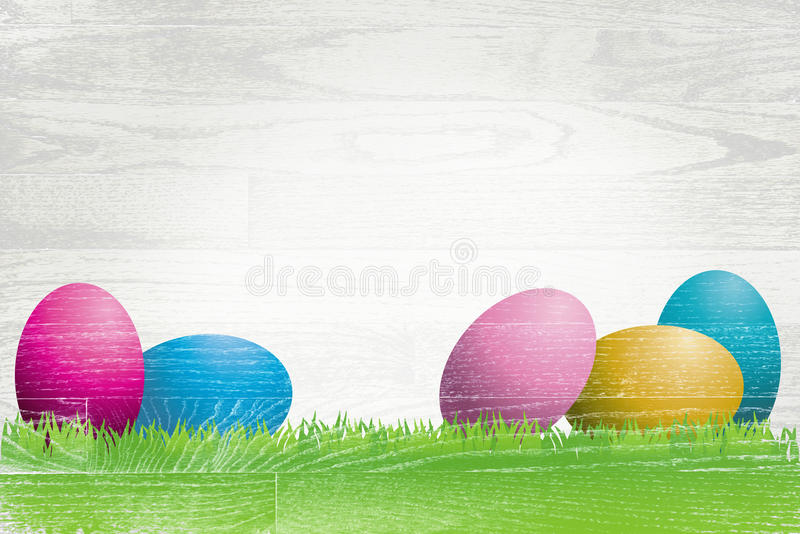 Easter Eggs Painted Over Whitewashed Boards. Colorful Easter eggs and grass painted over a white washed wooden plank board royalty free illustration