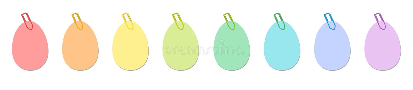 Easter Eggs Paper Clips Notes Colors stock illustration