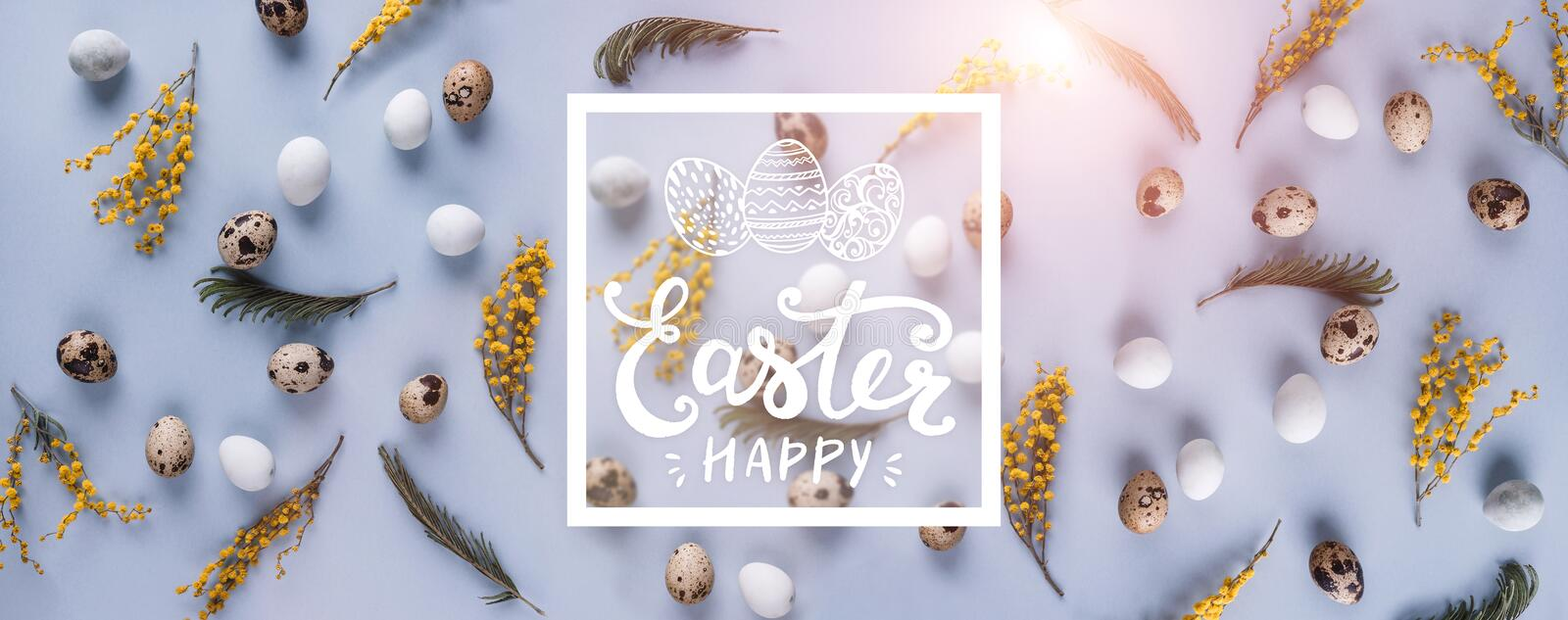 Easter eggs pattern background with spring flowers. Top view with copy space. Happy Easter card royalty free illustration