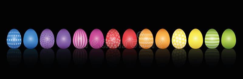 Easter Eggs Pattern Rainbow Colored Black vector illustration