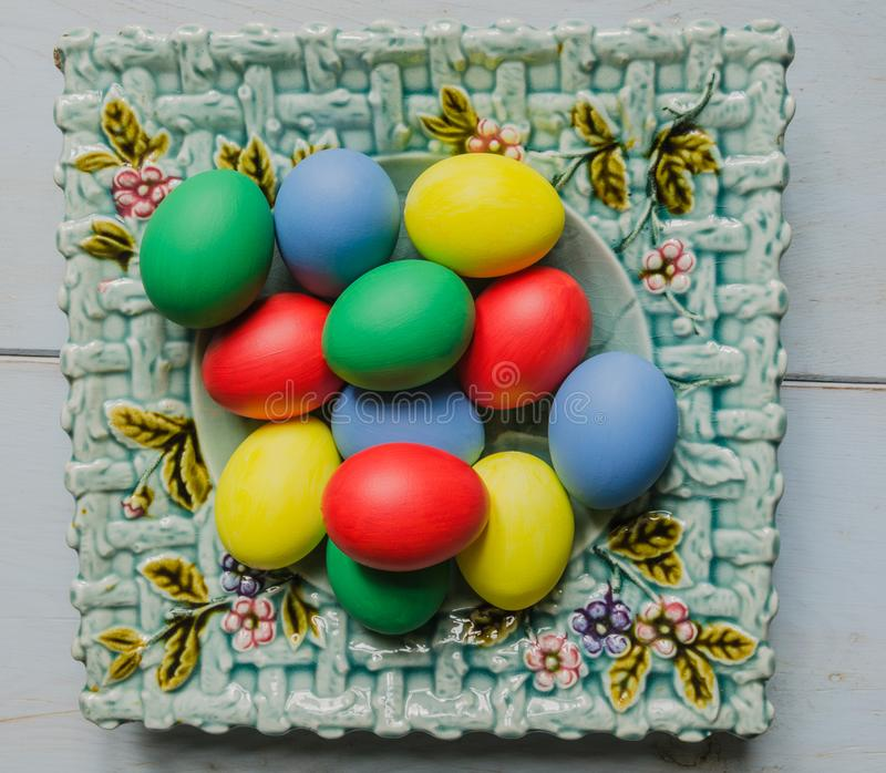 Download Easter Eggs In Plate Stock Photo. Image Of Over, Horizontal    109367614