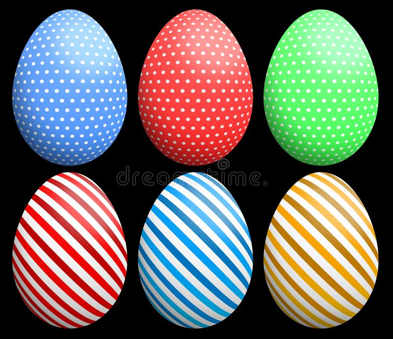 Easter eggs with polka dots and striped patterns in 3 colors. stock illustration