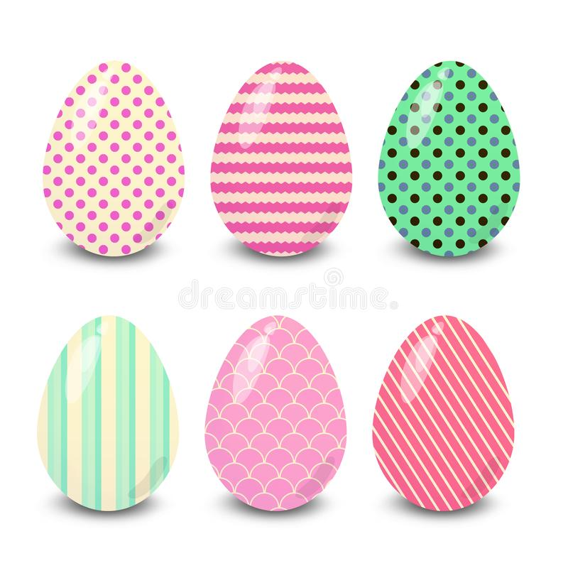 Easter eggs polka dots and stripes  white background. Easter eggs. Illustration isolated with background easter eggs with ornament, element for design, different vector illustration