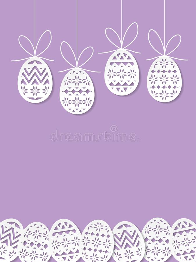 Easter eggs paper cut art on purple background. Easter eggs paper cut art purple background vector illustration