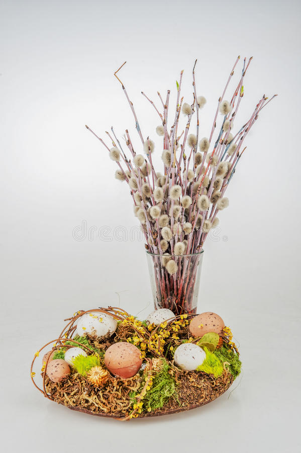 Easter eggs willow wreath stock photo