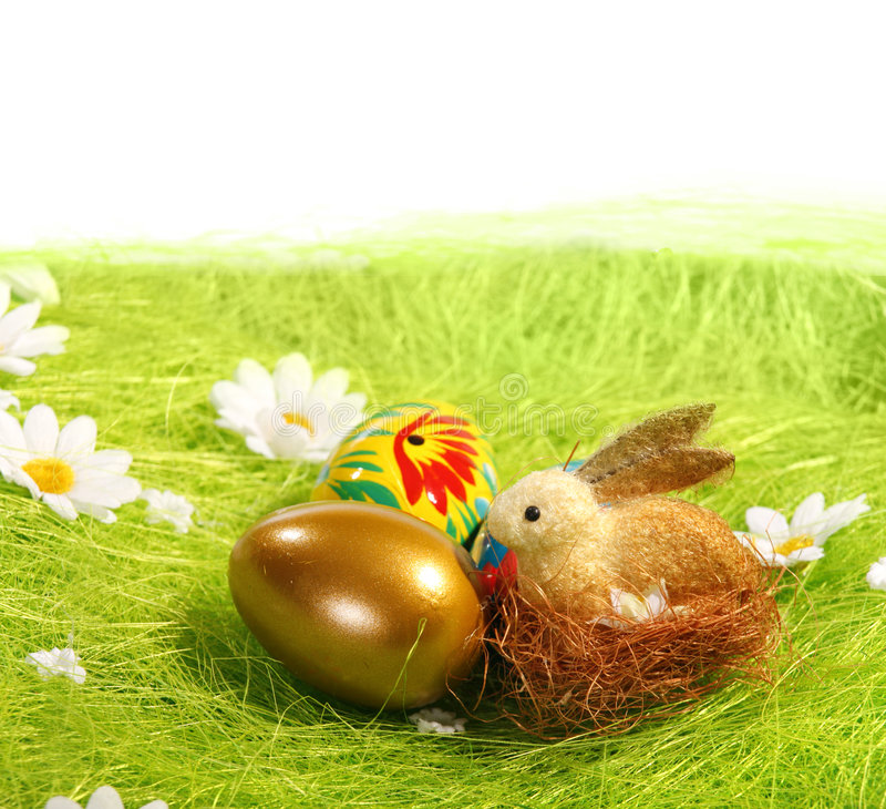 Easter Eggs and rabbit royalty free stock photo