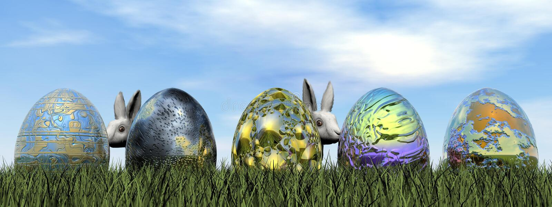 Easter eggs and rabbit - 3D render vector illustration