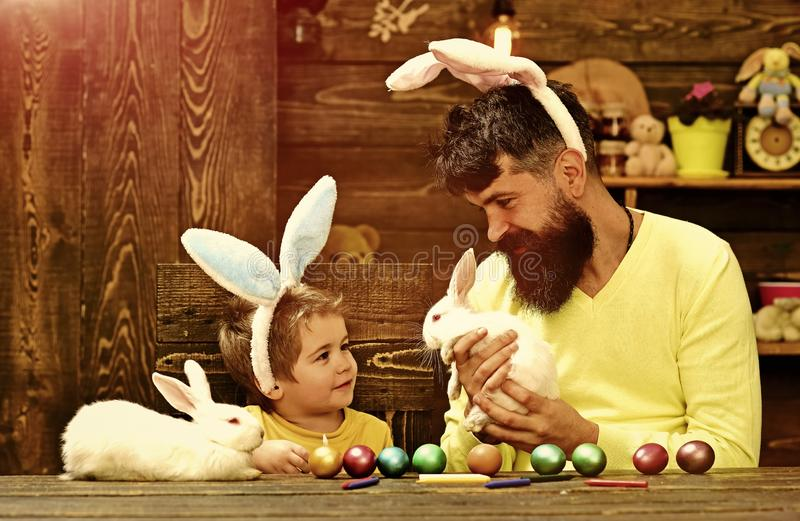 Rabbit`s family with bunny ears. stock images