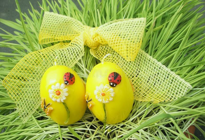 Easter eggs with ribbon royalty free stock image