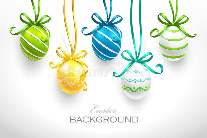 Easter eggs. With ribbons. Vector stock illustration