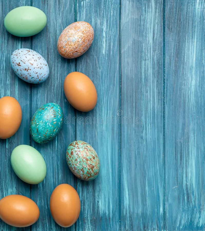Easter eggs holiday flat lay room for text colorful clean easter bunny jelly beans stock images
