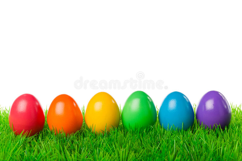 Easter eggs in a row. Colorful easter eggs on a fresh meadow, isolated on white royalty free stock photography