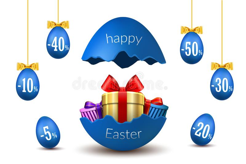 Easter eggs sale. Broken Happy Easter egg 3D template isolated on white background. Design banner, greeting, promotion. Holiday decoration, special offer vector illustration