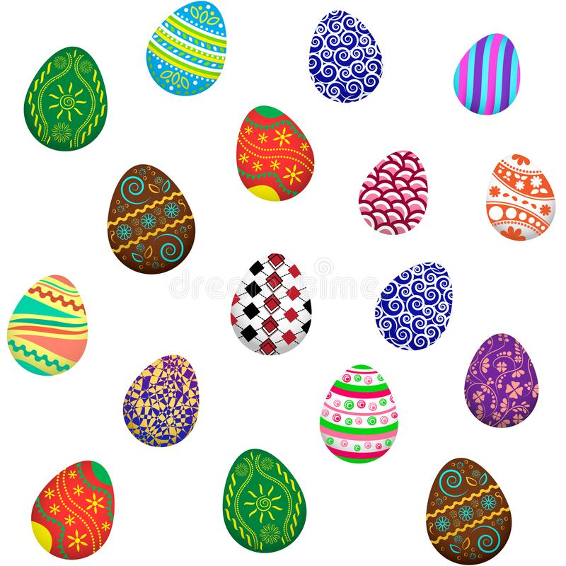 Easter eggs seamless pattern, colored ornaments, vector. Illustration stock illustration