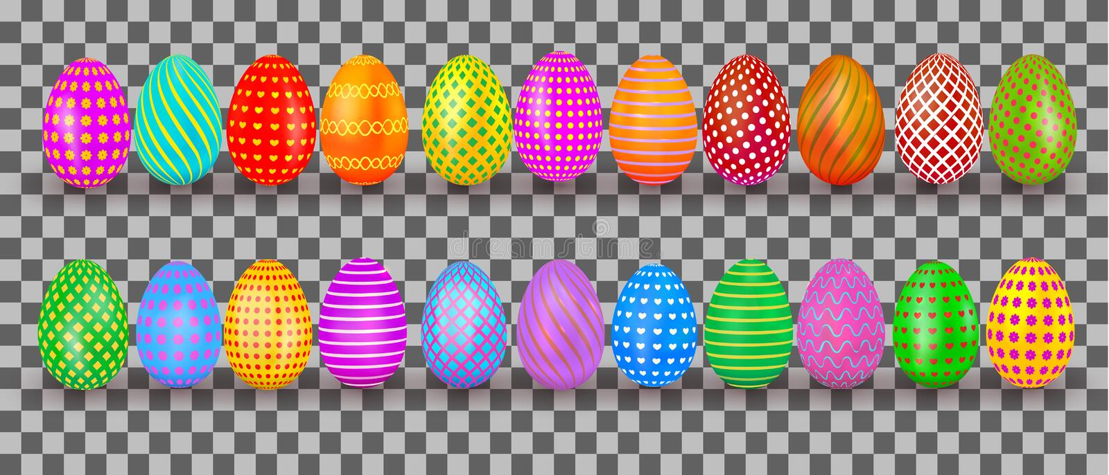 Easter eggs set. Colorful realistic egg with pattern isolated on transparent background. Holiday design element for banner, poster vector illustration