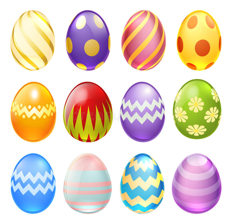 Easter Eggs. A set of colourful decorated chocolate cartoon Easter Eggs for use in Easter designs vector illustration