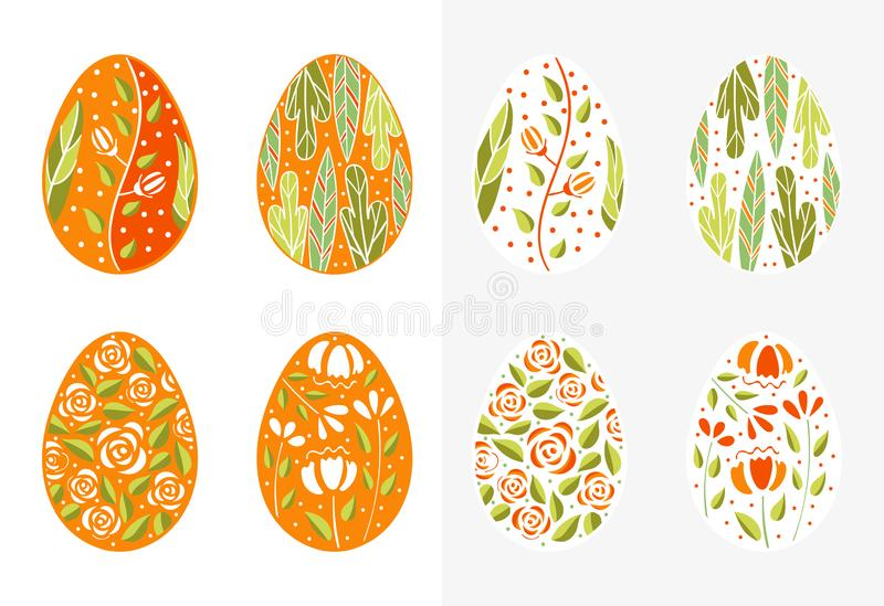 Easter eggs set orange color. Holiday easter clip art for cards, invitations, tags and postcards. Isolated on white vector illustration