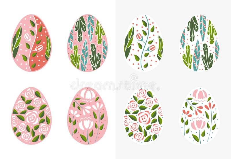 Easter eggs set in pink color. Holiday easter clip art for cards, invitations, tags and postcards. Isolated on white vector illustration