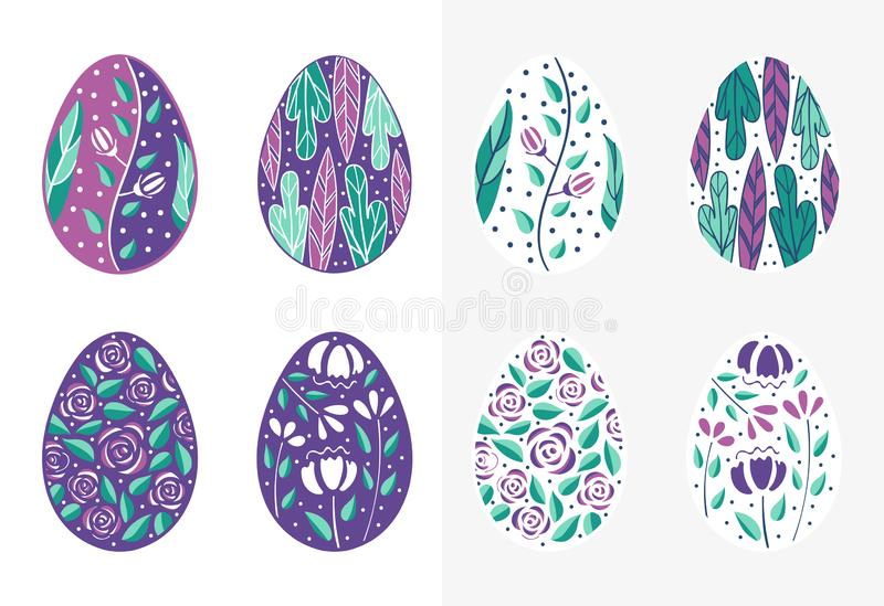 Easter eggs set in purple color. Holiday easter clip art for cards, invitations, tags and postcards. Isolated on white royalty free illustration