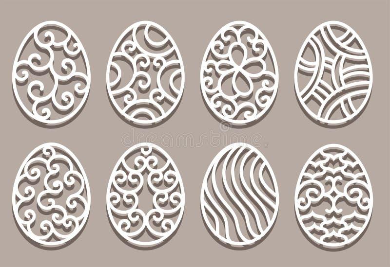 Easter eggs set. White ornamental eggs for laser cutting on beige background royalty free illustration