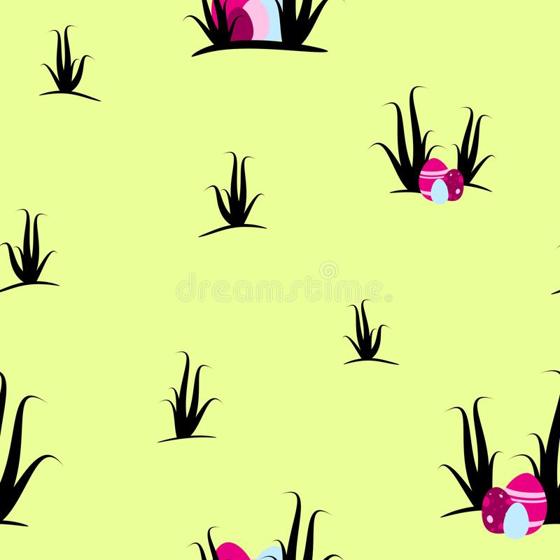 Easter eggs and shrubs on lime background seamless tileable pattern texture royalty free stock photo