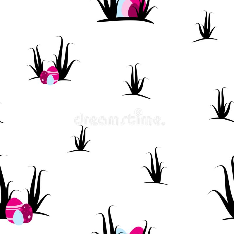 Easter eggs and shrubs on transparent background seamless tileable pattern texture stock photography
