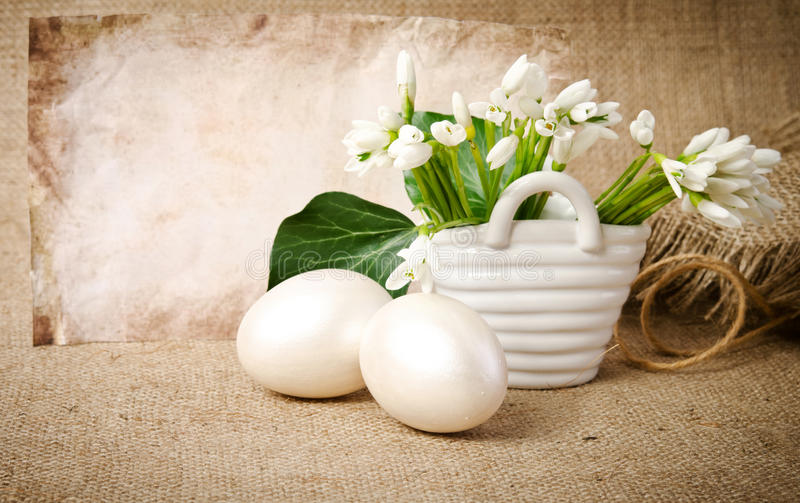 Download Easter eggs and snowdrops stock photo. Image of season - 39586818