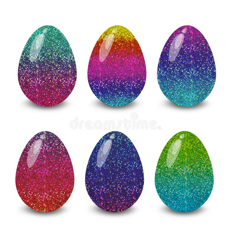Easter eggs sparkle white background. Easter eggs. Illustration isolated with background easter eggs with ornament, element for design, different patterns vector royalty free illustration