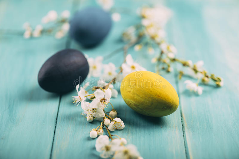 Easter eggs and spring blossom stock images