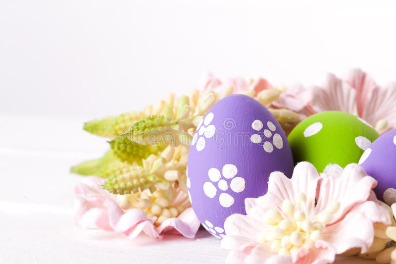 Easter Eggs with Spring Flowers. Studio shot stock photography