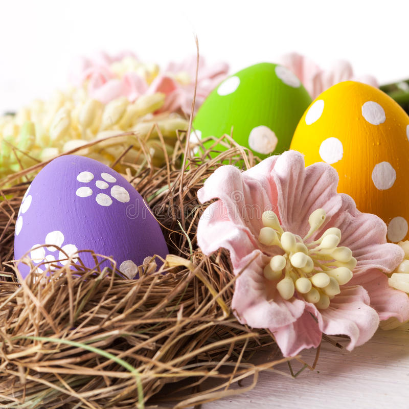Easter Eggs with Spring Flowers. Studio shot stock images