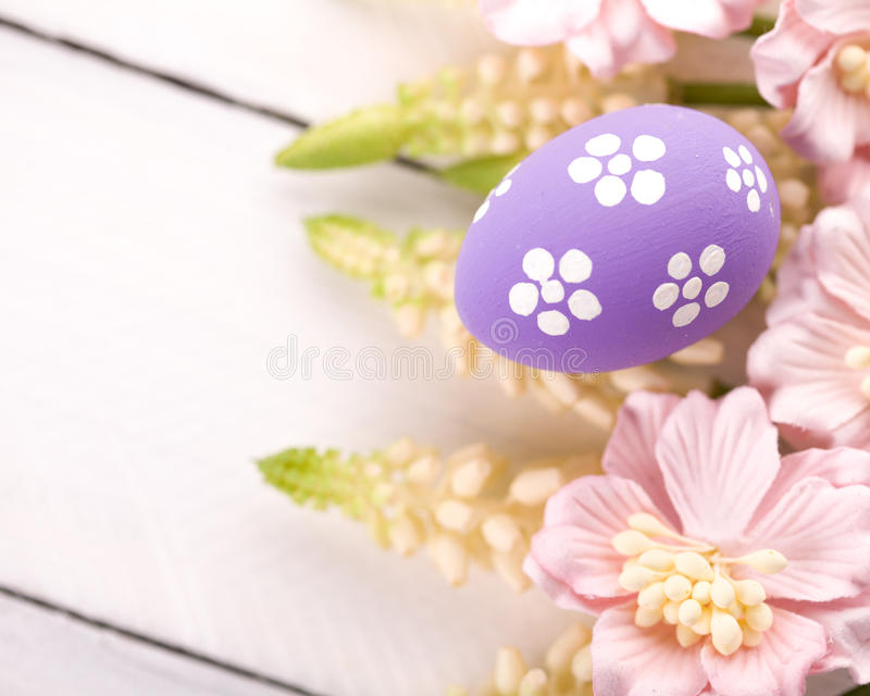 Easter Eggs with Spring Flowers. Studio shot royalty free stock photography