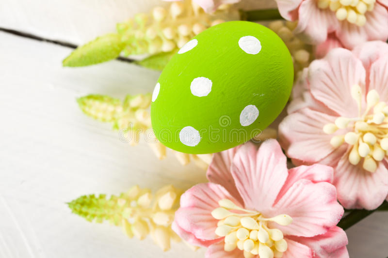Easter Eggs with Spring Flowers. Studio shot royalty free stock images