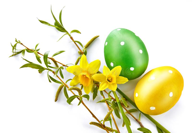 Easter eggs with spring yellow flowers royalty free stock photos