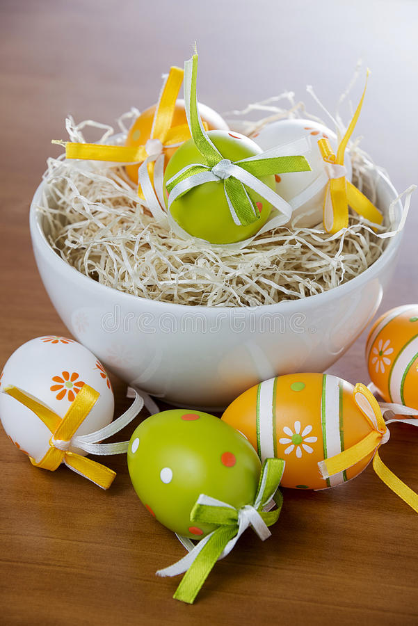 Easter eggs. In the straw stock image