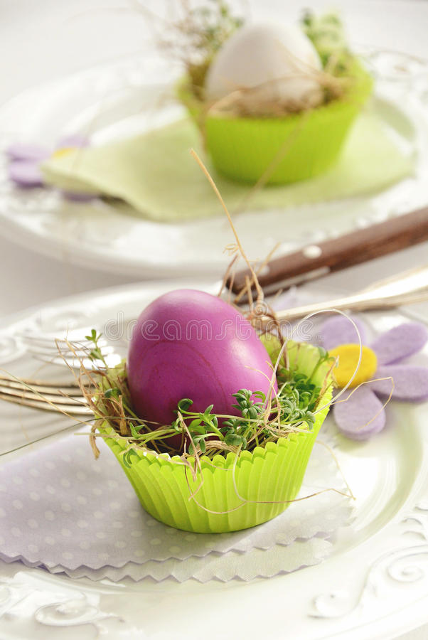 Easter eggs table decoration with watercress in muffin paper cup. On white background royalty free stock photography