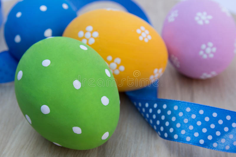 Easter eggs on the table with tape royalty free stock photography