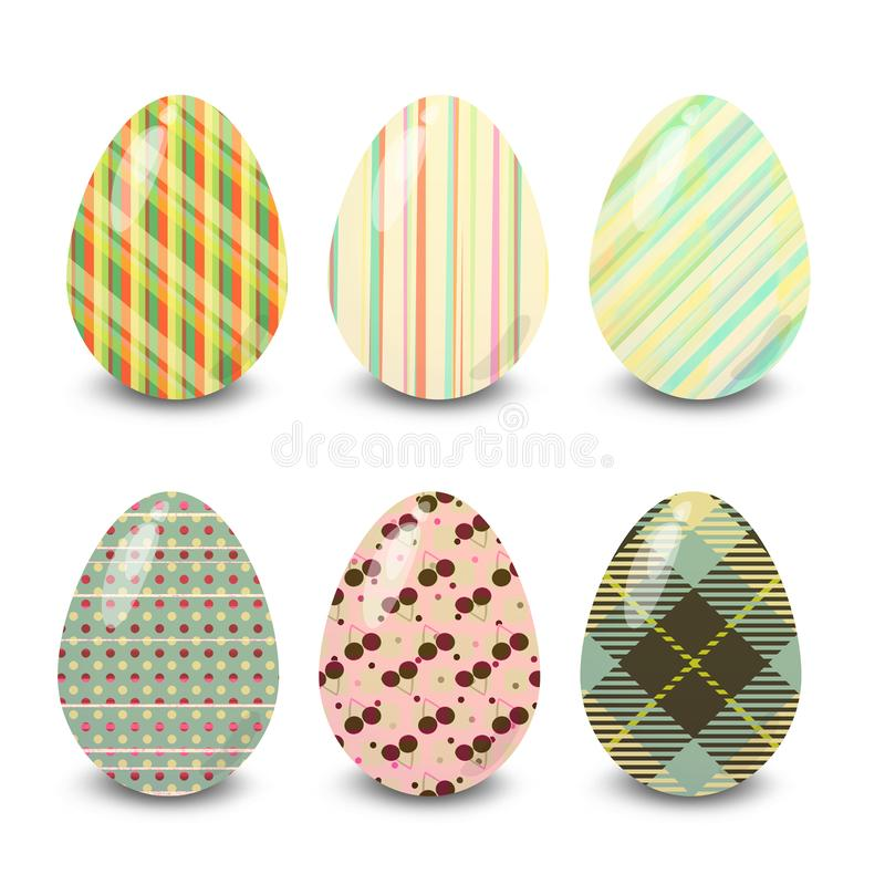 Easter eggs tartan and striped patterns. Easter eggs. Illustration isolated with background easter eggs with ornament, element for design, different patterns vector illustration