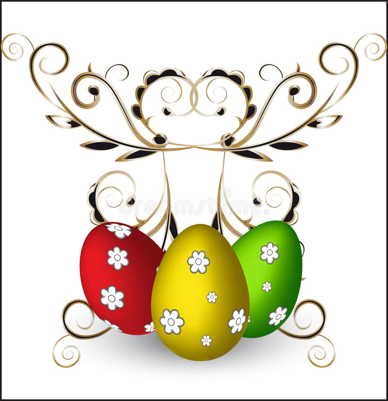 Easter eggs. Three color painted Easter -- eggs, green, gold, red with flowers vector illustration