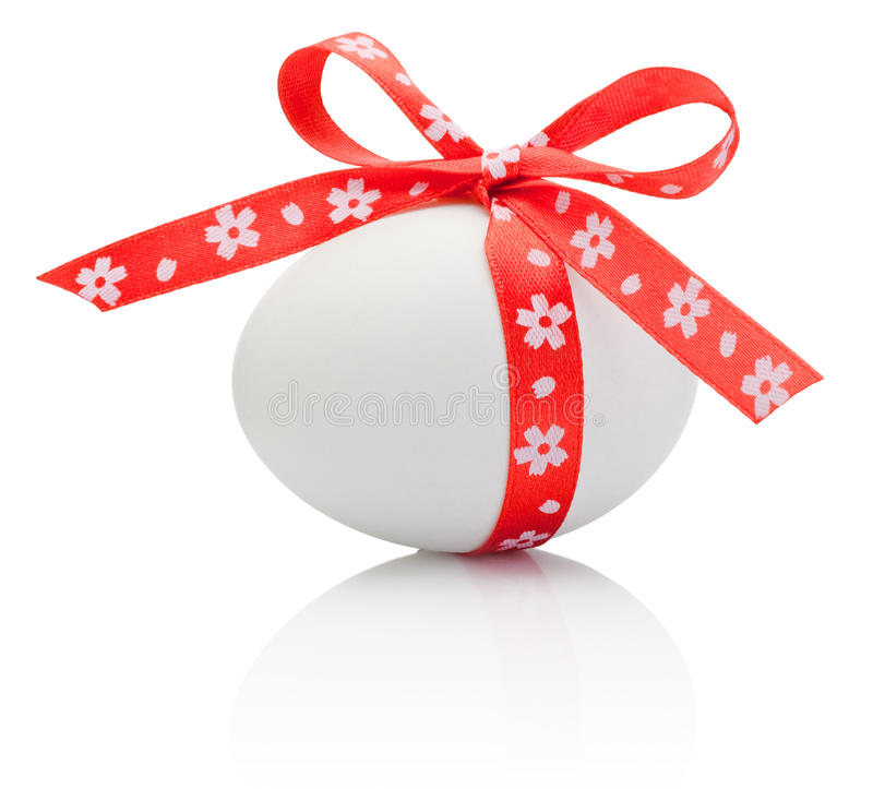 Easter eggs tied red ribbon bow isolated stock image