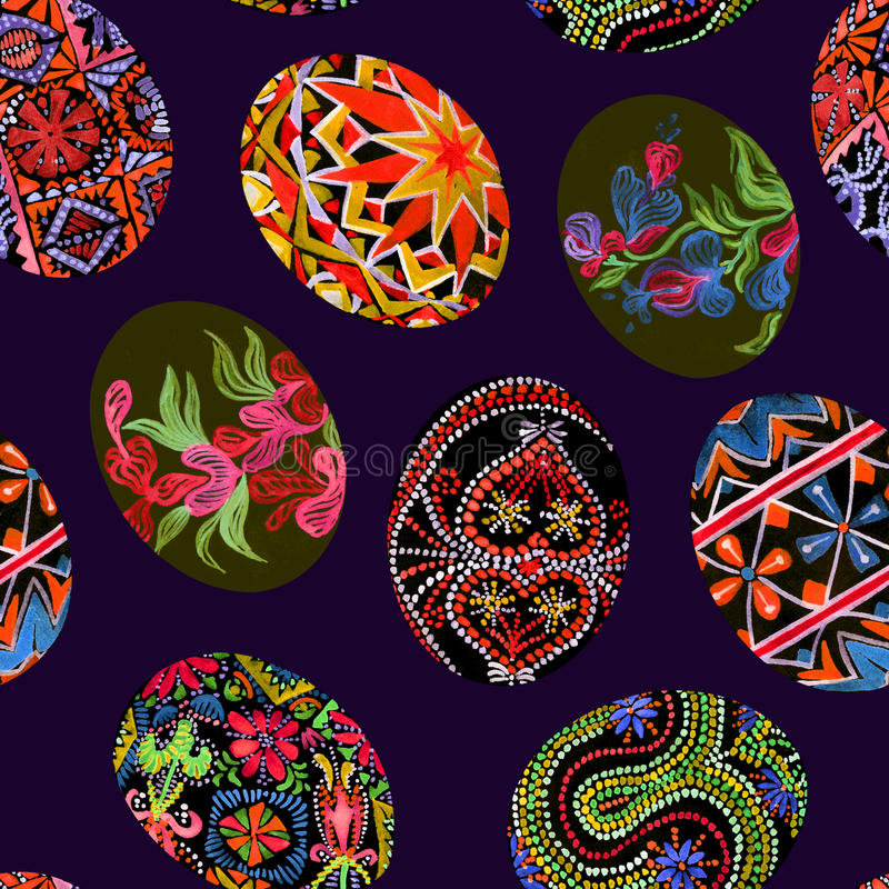 Easter eggs with traditional painting Eastern European styles of painting, in particular Ukrainian motifs. Seamless pattern hand painted watercolor illustration royalty free illustration