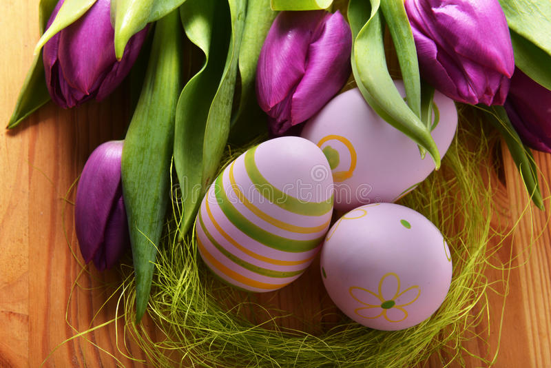 Easter eggs and tulip stock photography