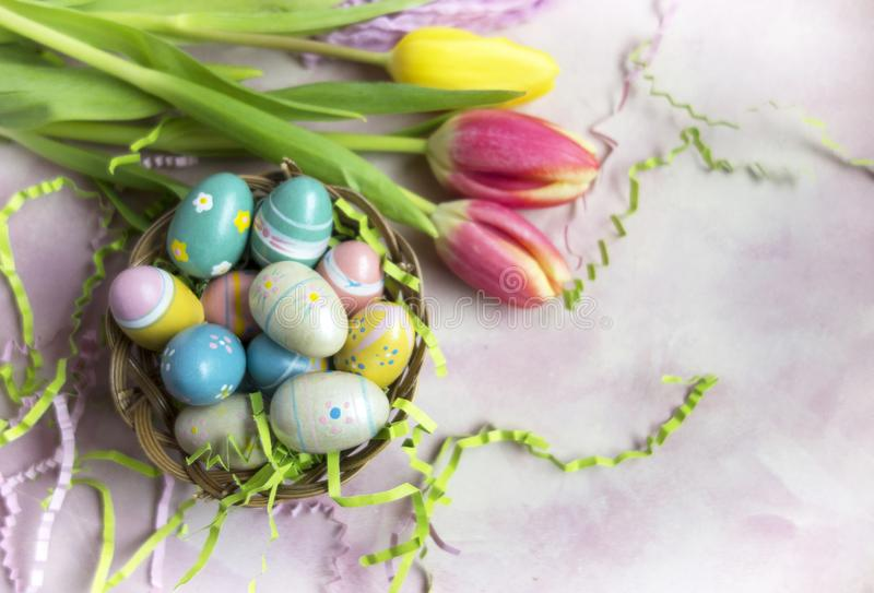 Easter Eggs and Tulips royalty free stock photo