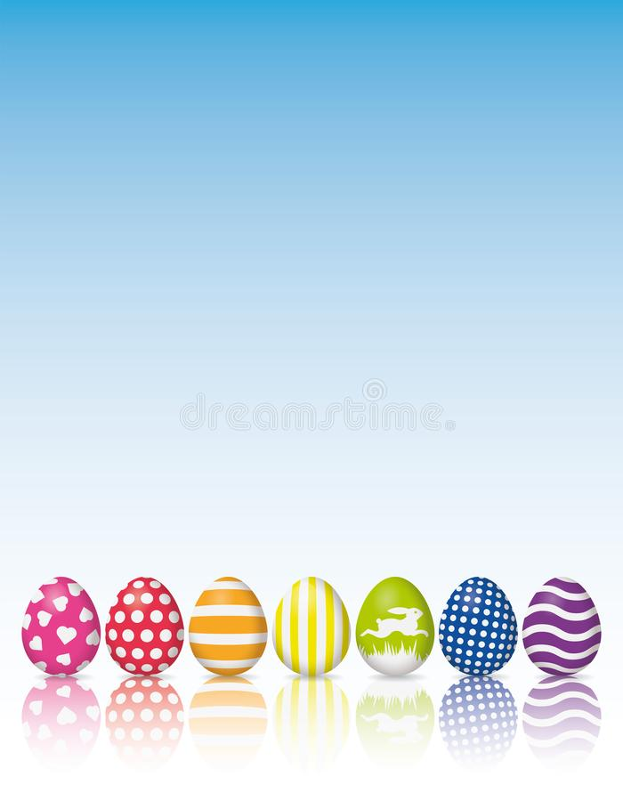 Easter Eggs with various patterns and reflection poster. Holiday poster background, colorful easter eggs with white patterns reflected on white surface, sky stock illustration
