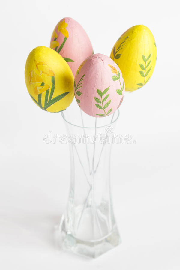 Easter eggs vase royalty free stock photos