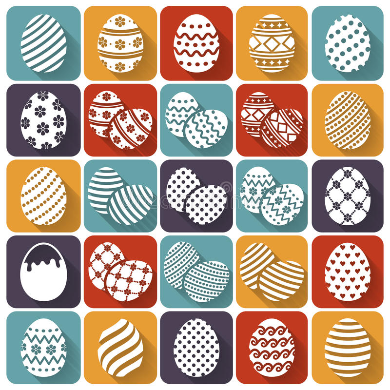 Easter eggs. Vector flat icons set. stock illustration